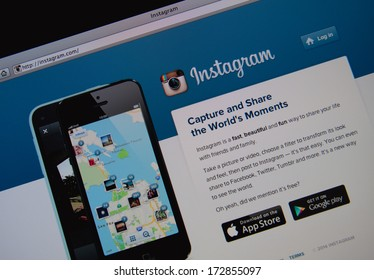 LISBON - JANUARY 23, 2014: Photo of Instagram homepage on a monitor screen. Instagram is a photo-sharing social network.