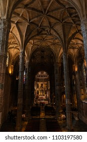 LISBON - JANUARY 4, 2018: Columns and nave of the main chapel of the church in Jeronimos Monastery (1469-1521) in Lisbon, Portugal.