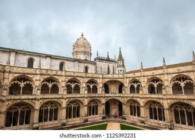 LISBON - JANUARY 4, 2018: Details of the Late Gothic Manueline ornamentation in the cloister of Jeronimos Monastery (1469-1521) in Lisbon, Portugal.