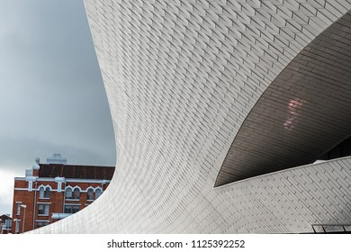 LISBON - JANUARY 4, 2018: Main entrance to the Museum of Art, Architecture and Technology (MAAT) in Lisbon by the River Tagus.