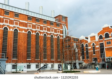 LISBON - JANUARY 4, 2018: Wide-angle view of the Tejo Power Station in Lisbon, Portugal, a former thermoelectric power plant that currently hosts the Electricity Museum.