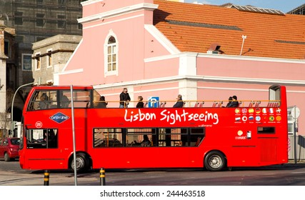 LISBON - JANUARY 9TH: The Lisbon sightseeing bus tour on January the 9th, 2015, in Lisbon, Portugal. The Lisbon bus tour is popular service for tourists visiting the city.