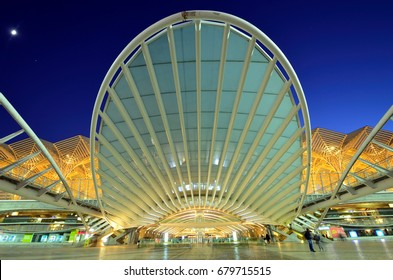 LISBON - JULY 1, 2017: Lisbon Oriente Train Station is one of the world's largest stations with 75 million passengers per year and built with a roof of glass and steel made to look like row of trees.