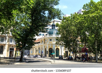 LISBON – July 16, 2018:  The Tivoli Theater, a national monument built in neoclassical architecture, seen from the Liberty Avenue (Avenida da Liberdade), in Lisbon, Portugal