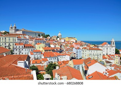 LISBON - JULY 2, 2017: Alfama is the oldest district of Lisbon and it is spreading on the slope between Sao Jorge Castle and Tejo river.