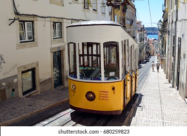 LISBON - JULY 2, 2017: Bica Funicular is a funicular railway line that began functioning in 1892 and it climbs steep slope for 245 meters.