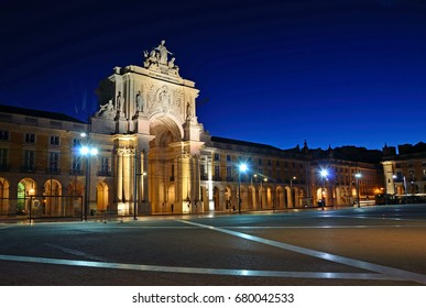 LISBON - JULY 2, 2017: Commerce Square is one of the largest squares in Europe and is better known as Terreiro do Paco, since there was a palace before earthquake in 1755.