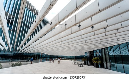 LISBON – July 25, 2018:  Long lines creating a tridimensional perspective on a modern architecture building Location: EDP Headquarters in Lisbon, Portugal