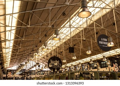LISBON – July 25, 2018:  Occupying half the space of the wholesale market called Mercado da Ribeira is the newest food hall of Time Out Market, in downtown Lisbon, Portugal