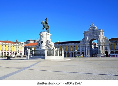 LISBON - JULY 3, 2017: Commerce Square is one of the largest squares in Europe and is better known as Terreiro do Paco, since there was a palace before earthquake in 1755.