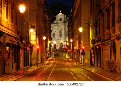 LISBON - JULY 3, 2017: Pombaline Baixa is a district in central Lisbon and there are Medieval churches in this area.