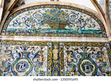 LISBON – July 5, 2018: Detail of the superb polychromatic mosaics with a leg and arm in the Chapel of Saint Amaro in Lisbon, Portugal