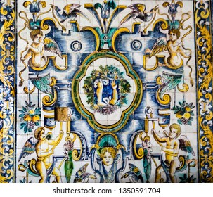 LISBON – July 5, 2018: Detail of the superb polychromatic mosaic with a leg and an arm, the main motifs of the healing belief of Saint Amaro in the Chapel of Saint Amaro in Lisbon, Portugal