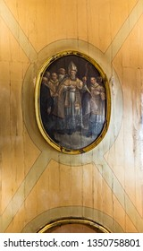 LISBON – July 5, 2018: Detail of the sacristy ceiling with a paiting depicting Bishop Saint Amaro, in the Chapel of Saint Amaro in Lisbon, Portugal