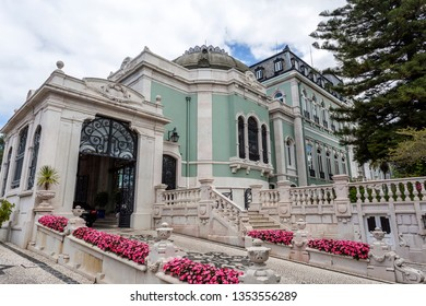 LISBON – July 5, 2018: Entrance of the sumptuous neoclassical Vale Flor Palace built in early 20th century in Lisbon, Portugal