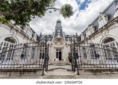 LISBON – July 5, 2018: Facade of the horse stables in the same romantic style as the main Vale Flor Palace across the road, in Alcantara, Lisbon, Portugal