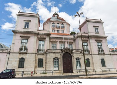 LISBON – July 5, 2018: Facade of the Burnay Palace, also known as the Palace of the Patriarchs, built in early 18th century in Alcantara, Lisbon, Portugal