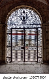LISBON – July 5, 2018: Outside view through the central wrought iron gate of the Renaissance Chapel of Saint Amaro in Lisbon, Portugal