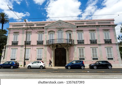 LISBON – July 5, 2018: The Pessanha Valada Palace is an urban mansion of eclectic residential architecture, built at the end of the 18th century in Alcantara, Lisbon, Portugal