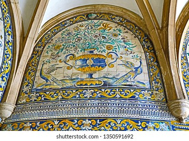LISBON – July 5, 2018: View of the superb polychromatic mosaic with flowers and birds motifs at the poorly maintained Chapel of Saint Amaro in Lisbon, Portugal