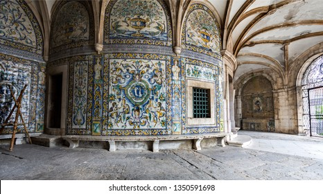 LISBON – July 5, 2018: View of the highly decorated walls with polychromatic tiles at the poorly maintained Chapel of Saint Amaro in Lisbon, Portugal