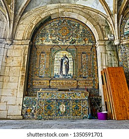 LISBON – July 5, 2018: View of the superb mosaic of Saint Amaro peregrine at the poorly maintained Chapel of Saint Amaro in Lisbon, Portugal