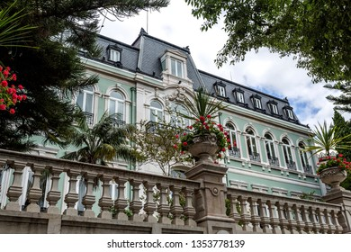 LISBON – July 5, 2018: View of the sumptuous neoclassical Vale Flor Palace built in early 20th century in Lisbon, Portugal
