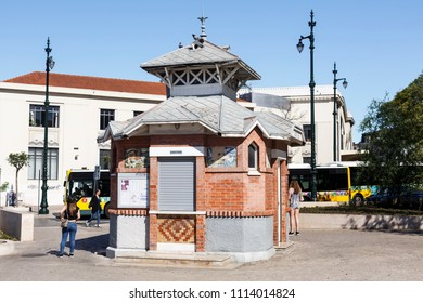 LISBON – June 15, 2018:  Art Nouveau kiosk, built in early twentieth century and located in the Cais do Sodre garden