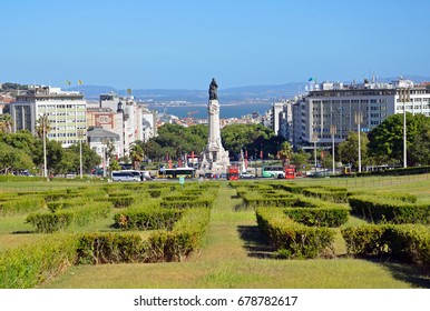 LISBON - JUNE 30, 2017: Eduardo VII Park was initially called the Liberty Park and it has been bearing the name of the king of England after he visited Portugal in 1902.