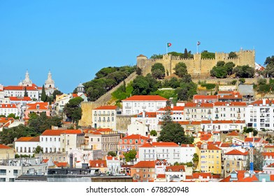 LISBON - JUNE 30, 2017: Saint George Castle is located on the top of hill and had been the residence of the kings of Portugal from the twelfth to the sixteenth century.