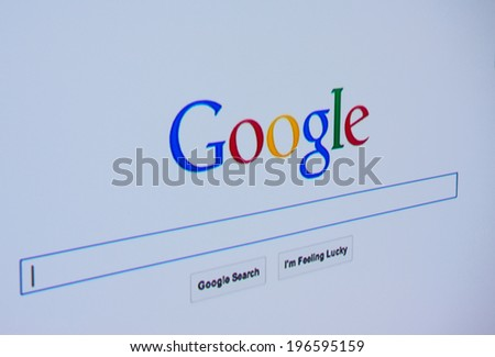LISBON - JUNE 4, 2014: Photo of Google homepage on a monitor screen.