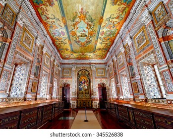 LISBON - NOVEMBER 11, 2015:The 18th century Sacristy at Monastery of Sao Vicente de Fora in Lisbon, Portugal, famous for its painted ceiling and exuberantly decorated walls with polychrome marble