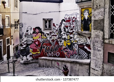 LISBON - NOVEMBER 29: Graffiti symbolizing Lisbon and her traditional music fado, on a wall on downtown on November 29, 2012 in Lisbon. Fado is in the  in the UNESCO Intangible Cultural Heritage Lists