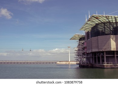 Lisbon Oceanarium with cable cars at Parque das Nacoes, Portugal