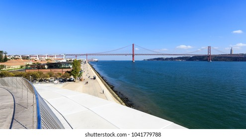 LISBON - October 12, 2017: Panoramic view over the bridge from the top of the Museum of Art, Architecture and Technology (MAAT), in Lisbon, Portugal