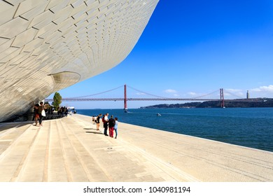 LISBON - October 12, 2017: Three important landmarks in the same image: the MAAT, the 25th of April Bridge and Christ the King, in Lisbon Portugal
