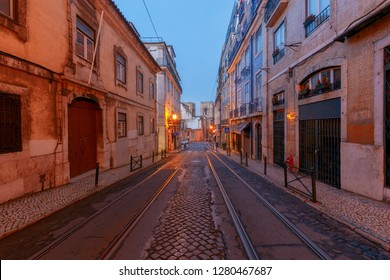 Lisbon. Old street at night.