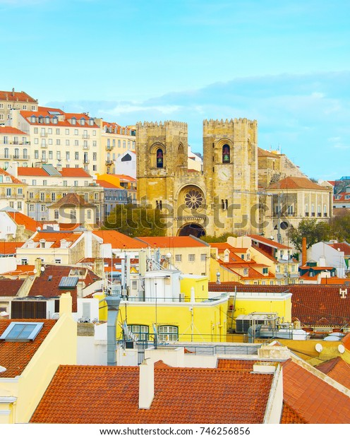 Lisbon Old Town with famous Lisbon Cathedral. Portugal