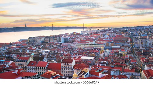 Lisbon panoramic view in the beautiful sunset. Portugal