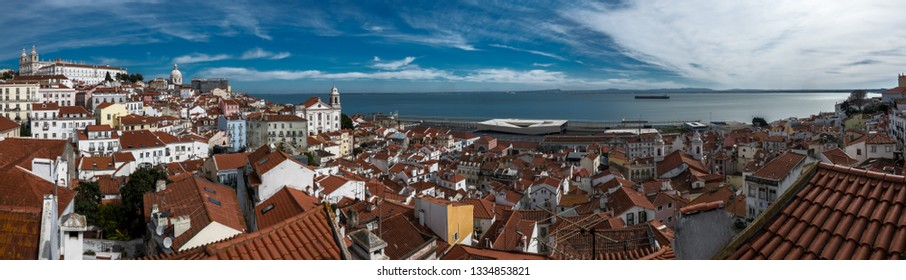 Lisbon panoramic view, the old town Alfama, Portugal