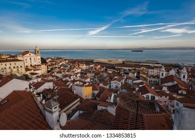 Lisbon panoramic view at sunset, the old town Alfama, Portugal