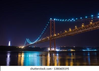 Lisbon Ponte 25 de April by night