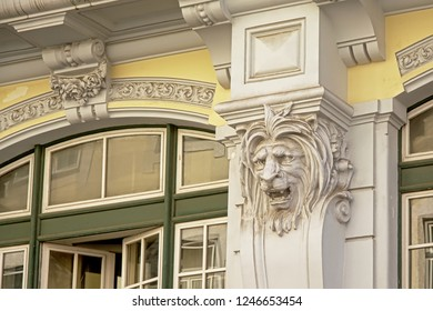 LISBON, PORTUGA, SEPTEMBER 12, 2018, Lion`s head sculpture, detail of an art deco building in Lisbon, 12 September 2018