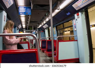 Lisbon Portugal. 04 April 2018. Subway carriage in Lisbon.Lisbon, Portugal. photography by Ricardo Rocha.