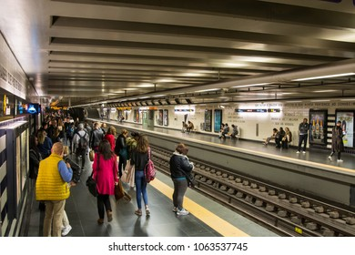Lisbon Portugal. 04 April 2018. Saldanha subway station in Lisbon.Lisbon, Portugal. photography by Ricardo Rocha.