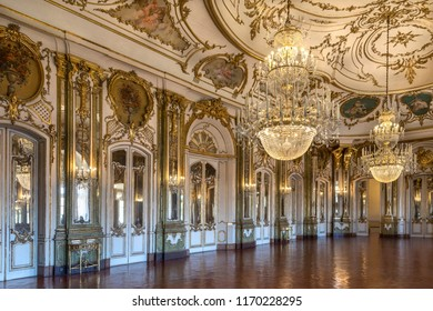 Lisbon. Portugal. 04.04.17. The Ballroom in the National Palace of Queluz in Lisbon, Portugal. It was designed by Robillon in 1760.