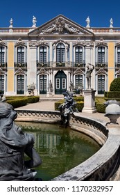 Lisbon. Portugal. 04.04.17. The National Palace of Queluz in Lisbon, Portugal. The Ceremonial Facade of the Corps de Logis designed by Oliveira.
