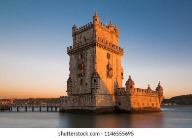 Lisbon, Portugal - 04.16.2017: Belem Tower during sunset