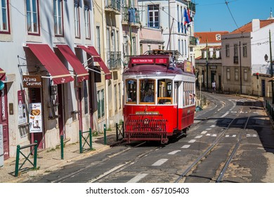 Lisbon Portugal. 05 June 2017.View of Lisbon town tram car in Alfama. Lisbon, Portugal. photography by Ricardo Rocha.