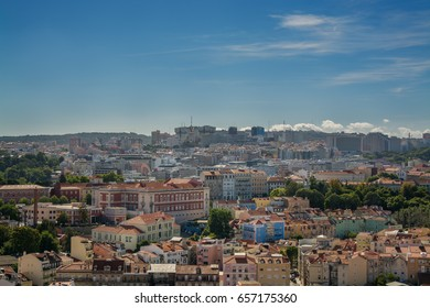 Lisbon Portugal. 05 June 2017.View of Lisbon town rooftops from the Senhora do Monte viewpoint in Graca. Lisbon, Portugal. photography by Ricardo Rocha.
